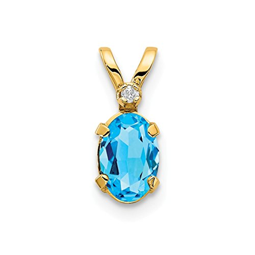 ICE CARATS 14kt Yellow Gold Diamond Blue Topaz Birthstone Pendant Charm Necklace December Oval Fine Jewelry Ideal Gifts For Women Gift Set From (Blue Topaz Birthstone Charm)