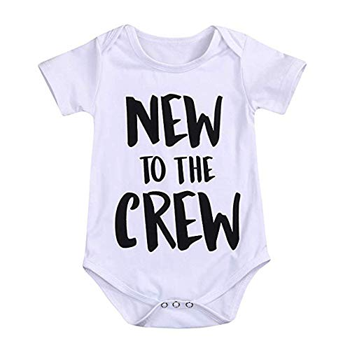Newborn Baby Boy Clothes Romper New to The Crew Funny Printed Onesies Bodysuit Outfits 0-3 Months