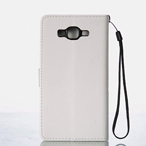 Trumpshop Smartphone Carcasa Funda Protección para Samsung Galaxy On5 (2016,G5700) + Marrón + PU Cuero Caja Protector Billetera con Función de Soporte [No compatible con On5 (2015,G5500)] Blanco