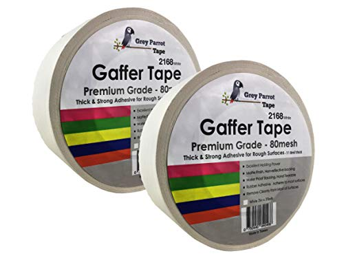 Matt White Fabric - GreyParrot Gaffer Tape White, Heavy Duty, Matt Cloth Fabric, 11.8mil Thick, Leaving no Residual, (2 Pack, 2in x 35yds), Filming Backdrop, Water Proof