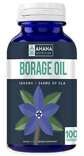 Borage Oil Capsules 1000mg - Supports Skin Health, Maintains Blood Pressure Levels, Aids Inflammation & More