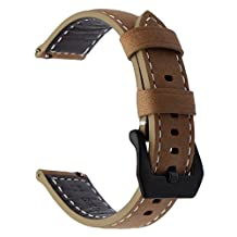 TRUMiRR 22mm Quick Release Genuine Leather Watch Band Butterfly Buckle Strap for Samsung Gear S3 Classic Frontier, Gear 2 Neo Live, Moto 360 2 46mm, Asus ZenWatch 1 2 Men, Pebble Time