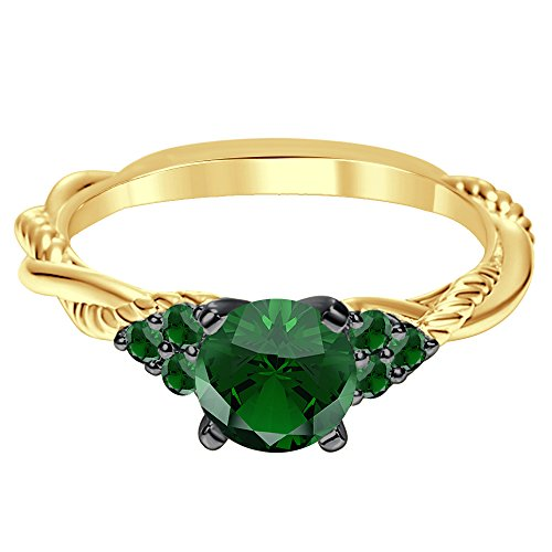 Silvergemking 14K Yellow Gold Plated 1.52 Ct 7 Stones Green Garnet CZ Diamond Twist Shank Engagement Ring ()