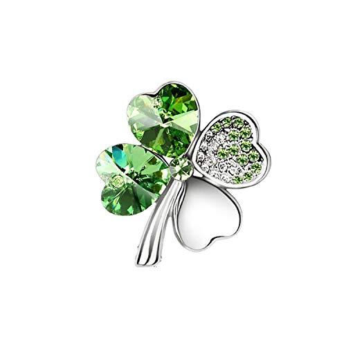New Factorys Austrian Crystal Four Leaf Clover Brooch Women Accessories Fashion,Silver Darkgreen