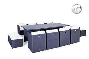 SOLEIL Jardin-Juego De mesa y sillas De jardín resina trenzada, 12 posiciones, MILANO, color Gris