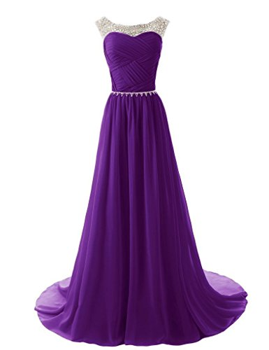 RohmBridal Women's Sparkling Embellished Bridesmaid Prom Dresses Purple 0
