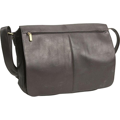 David King Leather East/West Full Flap Over Messenger Bag in Cafe (David Small Flap King)