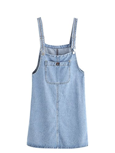 Verdusa Women's Classic Straps Denim Bib Sleeveless Ripped Pocket Dress Blue (Denim Pinafore Dress)