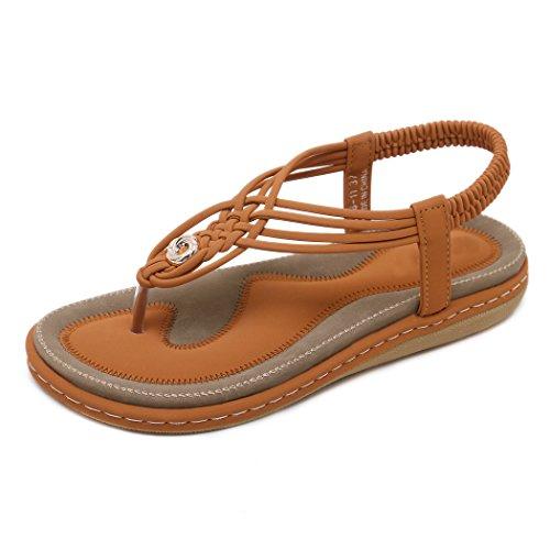 Las Las de Señoras del Zapatos la Sandalias Flip Planas Playa Marrón los de Ruiren Mujeres Ocasionales de Flops Verano para de Bohemias RfHXawIq