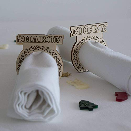 Personalised Wooden Napkin Rings Xmas Dinner Party Napkin Holders
