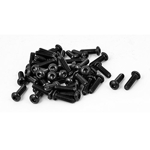 uxcell M6x20mm Button Head Hex Socket Cap Screw Bolt Black 50pcs