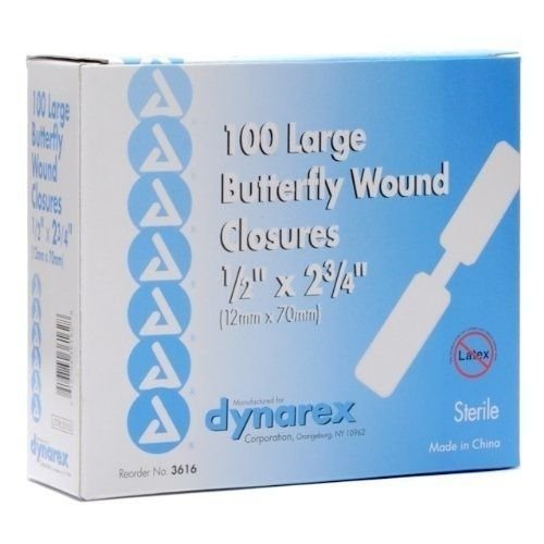 NEW DYNAREX BUTTERFLY WOUND CLOSURE BANDAIDS BANDAGES LARGE BOX OF 100 #3616