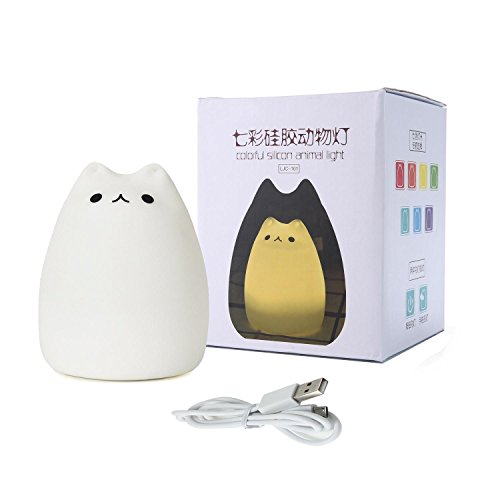 Umiwe Cute Kitty LED Children Night Light Kids Silicone Cat Lamp 8 Single Colors and 7-Color Flashing USB Rechargeable Lighting, Warm White Light