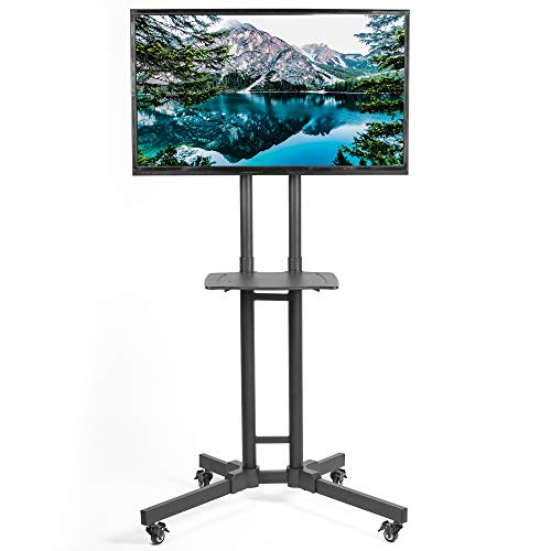 (VIVO Mobile Height Adjustable TV Cart with Shelf for LCD LED Flat Screens 32