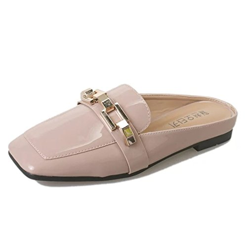 Womens Square Toes Natural Kitten Heel Mule Slide Sandal(Pink-36/5.5 B(M) US Women)