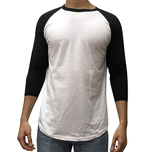 KANGORA Men's Plain Raglan Baseball Tee T-Shirt Unisex 3/4 Sleeve Casual Athletic Performance Jersey Shirt (24+ Colors) (White Black, Medium)