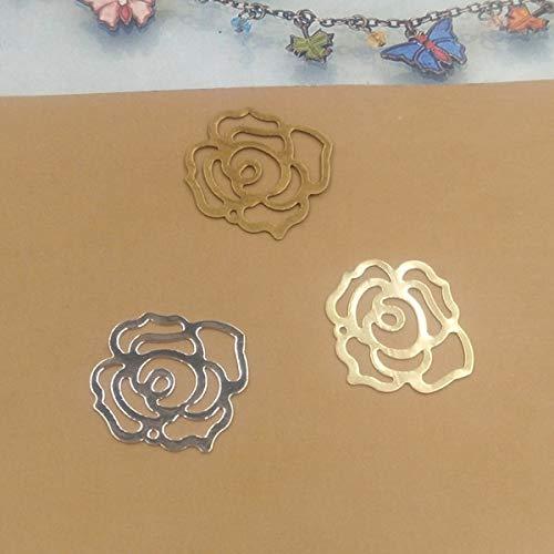 Calvas 22mm Embossing Rose DIY Filigree Pendant Copper with Antique Bronze/Gold Fallen Petals Handmade,Hairpin Parts Vintage Jewelry - (Item Diameter: Gold 100pcs)