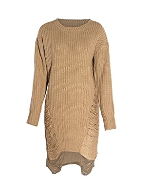 Sedrinuo Women Spring Autumn Winter Long Sleeve Knitted Sweater Pullover Dress