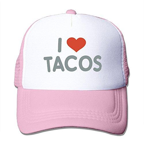 Women Adjustable Velcro Trucker Cap, I Love Tacos