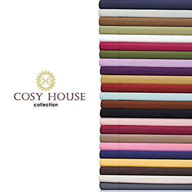 Cosy House Bed Sheet Sets 4 piece - Silky Soft High Quality Microfiber Bedding - Wrinkle, Fade Free Plus Stain Resistant Deep Pocket Fitted, Flat Sheets & Pillowcases - Hypoallergenic (Cream, Queen)