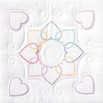 Stamped White Quilt Blocks 18X18 6//Pkg-Patchwork Hearts