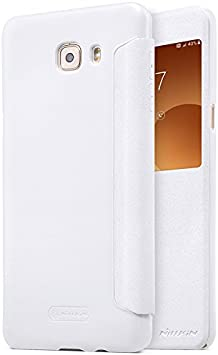 Samsung Galaxy C9 Pro Funda, [Accessories Expert] Nillkin Sparkle Serie Tapa Diseño Brillo Brillante Shine Piel Importado Cuero y PC Bottom Flip Compatible Case Cover para Samsung Galaxy C9 Pro,Blanco: Amazon.es: Electrónica