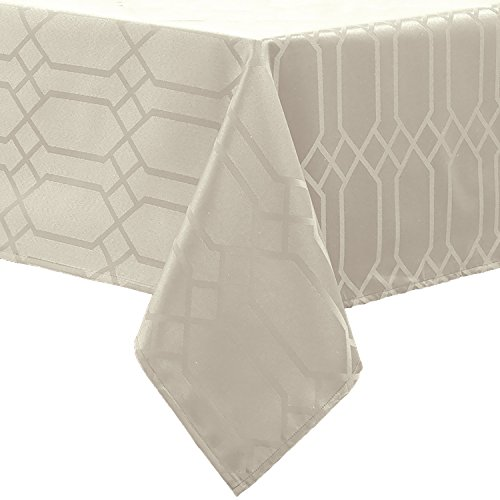 Benson Mills Chagall Spillproof Fabric Tablecloth, 60 by 120-Inch, Off White