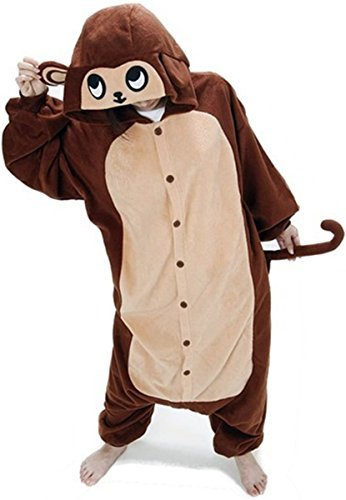 WOTOGOLD Animal Cosplay Costume Costume Monkey Unisex Adult Pajamas Brown,Small