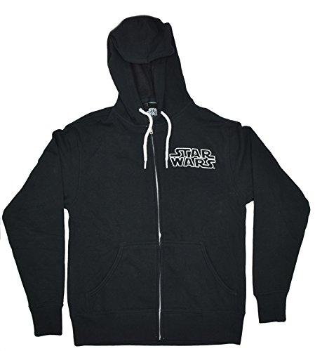 Star Wars Darth Vader Dark Side Hoodie Front ZIp Sweatshirt (Large, Black)