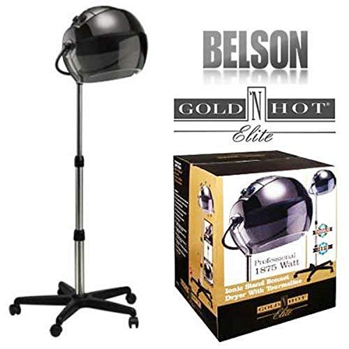 Belson 1053 Gold N Hot GH1053 V3 1875W Salon Ionic Stand Bonnet Tourmaline Hair Dryer, Black
