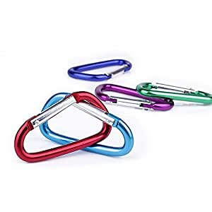 "5Pcs 3"" Aluminum Carabiner with KeyRing for Hiking (AT RANDOM)"