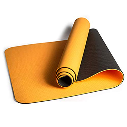 Two-Color Non-Slip TPE Yoga Mat Non-Slip Wear-Resistant Environmental Protection Widened Thickening Yoga Mat 183610.6cm, 183800.6cm, 183610.8cm, 183800.8cm (Color : Yellow)
