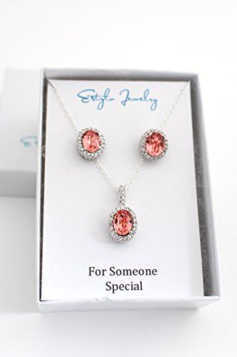 - Coral Bridesmaid Earrings and Necklace Set Peach Swarovski Crystal Ear Studs and Pendant with Cubic Zirconia in Silver Settings Blush Wedding Jewelry Gift for Someone Special - Thirteen Colors to Choose