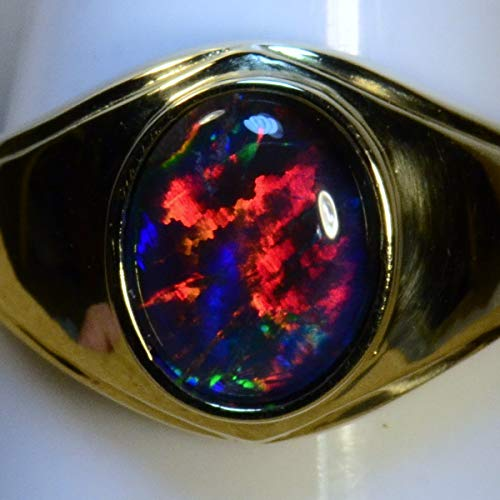 Mans/Womans Solid 14k yellow gold Genuine Australian opal ring (15032) ()
