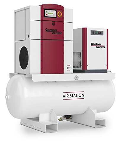 Gardner Denver L-Series 15 HP Rotary Screw Compressor Mounted on a 120 Gallon Receiver Tank, 208V/3 Phase, 56.1 CFM Maximum Flow Rate