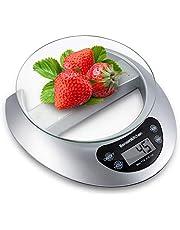 Bonsenkitchen Bilancia da cucina Digitale, vassoio di vetro con funzione e rimozione tara, 5kg/11 lbs Professionale Acciaio Inox Alta Precision Bilancia Elettronica per la Casa e la Cucina, Argento
