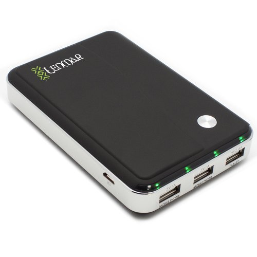 Lenmar Helix 11000 mAh 3 USB Port (4.4A total) Power Bank External Portable Charger Battery Pack for Charging Batteries of iPhone 4 5 6 6 Plus iPad Android Galaxy S5 S4 S3 Note 3 Note 4 Phones Tablets and other USB Powered Devices with Micro USB Cable, Black