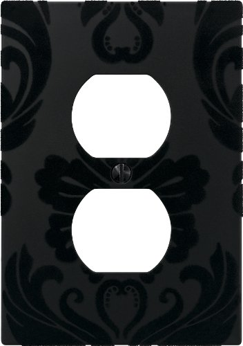 AmerTac 40DBK 1 Duplex Velvet Flocked Damask Wallplate, (Damask Switchplate)