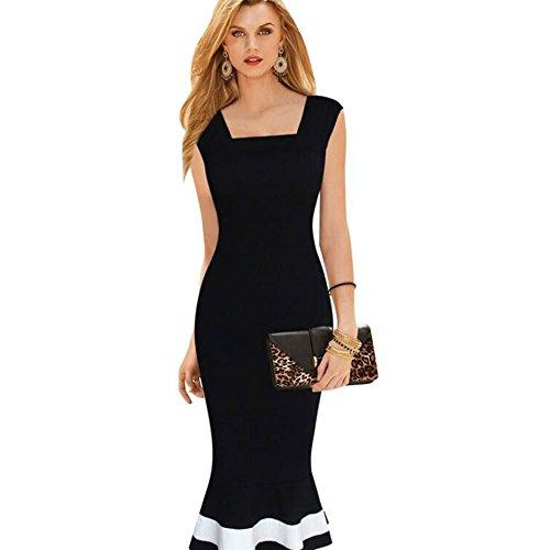 TrendsGal Women's Square Collar Sleeveless Mermaid Zipper Patchwork Dress(M)