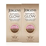 Jergens Natural Glow SPF 20 Face Moisturizer, Self Tanner, Medium to Deep Skin Tone, Sunless Tanning, Daily Facial Sunscreen, 2 oz, Pack of 2, Oil Free, Broad Spectrum Protection (Packaging May Vary)