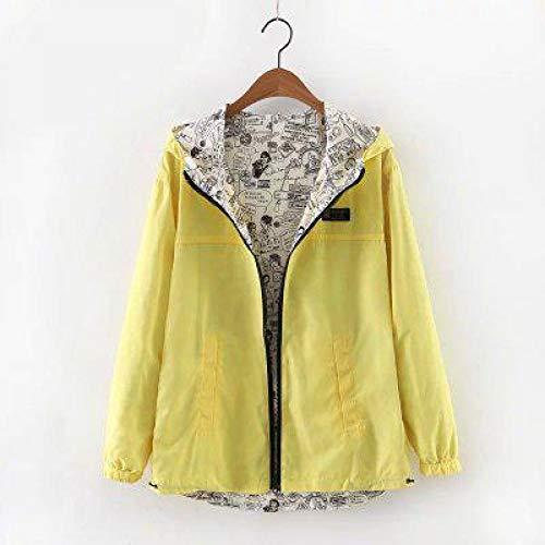 Windbreaker XCXKA Women Outwear Wear Hooded Coat Print Loose Side Female Autumn Trench Two Coat Spring Cartoon Yellow Zipper qwErnvXxfw