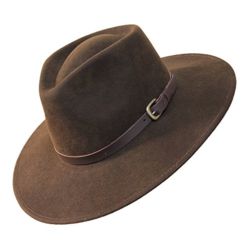 B&S Premium Lewis - Wide Brim Fedora Hat - 100% Wool Felt - Water Resistant - Leather Band
