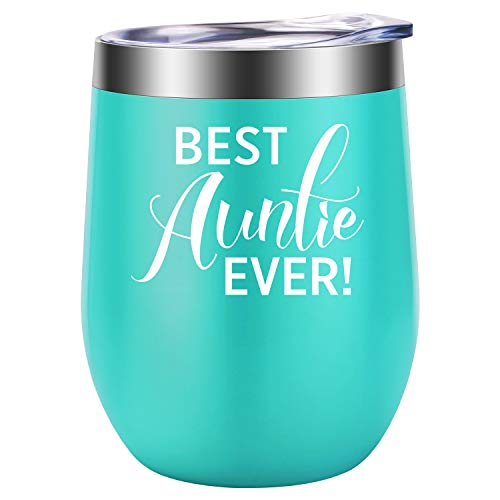 Best Auntie Ever - Funny Aunt Gifts for Birthday, Mother's Day, Christmas - LEADO 12 oz Stainless Steel Insulated Wine Tumbler Novelty Stemless Cup with Lid and Straw