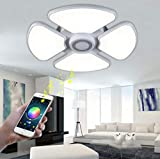 LED Music Ceiling Light with Bluetooth Speaker 48W, 90-265V Dimmable Drop Ceiling Light