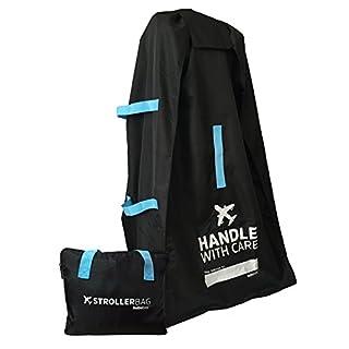 Bububee 'Elua XL Double Stroller Gate Check Travel Bag (Black & Aqua)