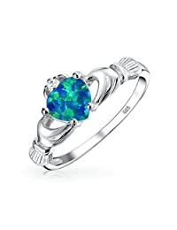 Bling Jewelry Celtic Heart Synthetic Blue Opal Claddagh Ring 925 Sterling Silver