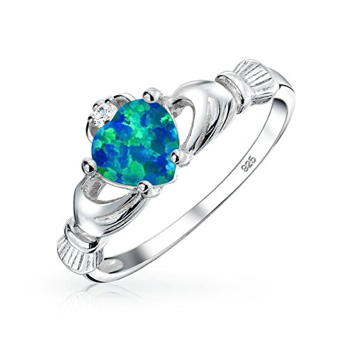 (BFF Celtic Irish Friendship Couples Promise Blue Created Opal Claddagh Ring For Teen For Women October Birthstone)