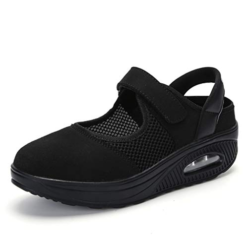Respctful✿Casual Walking Shoes Platform Sandals Mesh Lightweight Wedges Loafers Slip On Shake Shoes for Fitness Black ()