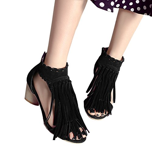 Chunky fereshte Toe Women's Tassels Dress Fashion Zip Peep Sandals Heel Black Mid wq1Yq6
