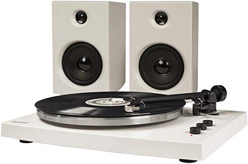 (Crosley T150 Modern 2-Speed Bluetooth Turntable System with Variable Weighted Tone Arm and Stereo Speakers, White)